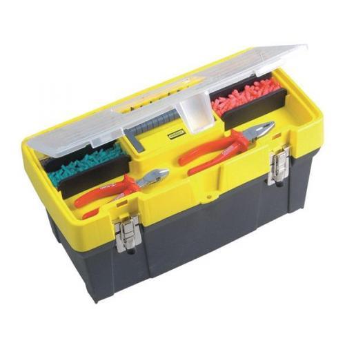 """Stanley 19"""" Instrumentu kaste ar caurspīdīgu vāku + organaizers 1-93-285"""